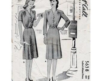 40s Shirtwaist Dress Pattern McCall 5638 Vintage Sewing Pattern Bust 40 Plus Size Day Dress with Zig Zag Front World War II Era Fashion