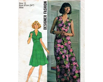 1970s V Neck Dress Pattern Simplicity 7172 Vintage Sewing Pattern Maxi or Knee Length Fit and Flare Dress Bust 34