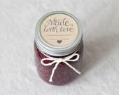 Made With Love rubber stamp - canning jar stamp, mason jar stamp, wedding favor stamp DIY jam jelly - Canning label