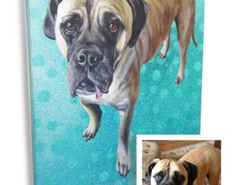 16x20 custom pet portrait boxer dog painting large animal picture on canvas wedding gift