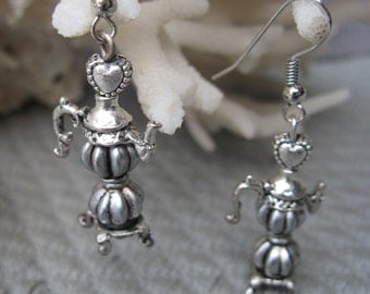 Silver Tea Pot Earrings with a Victorian Flair