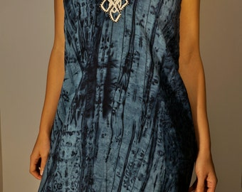 Vintage Shibori Tie Dye Dress XS S M Navy Blue One Off Hand Made Boho Hippie Psychedelic Gypsy Club Kid Acid Grunge Hipster Beach Festival