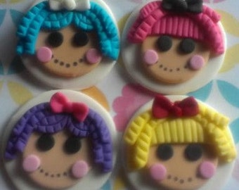Lalaloopsy Inspired Fondant Doll Faces - Set of 12