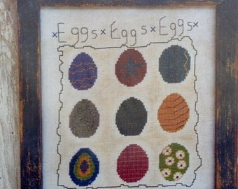 Hickety Pickety EASTER EGGS SAMPLER - Counted Cross Stitch Pattern Chart