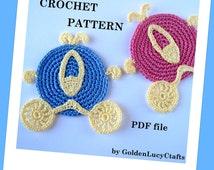 CROCHET PATTERN Cinderella Carriage Applique, Coasters, Motif, PDF File, Coach