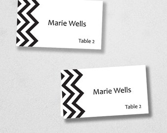 Avery Place Card Template - INSTANT DOWNLOAD - Escort Card - For Word and Pages - Mac and PC - Flat or Folded - Chevron