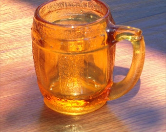 Glass Pitcher, Collectible Amber Glass,Mini Glass Pitchen, Syrup Pitcher, Creamer, Cast Glass, Place Setting, Centerpiece, Decoration