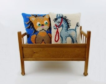 2 Vintage Embroidery Needlepoint Pillow Cushions Lion and Pony Nursery Decor Baby