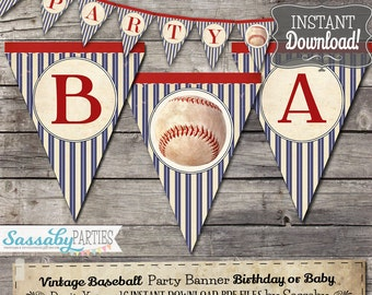 Vintage Baseball Party Banner / INSTANT DOWNLOAD / Editable & Printable / Birthday Decoration / Decor / Bunting / Ballgame / Baby Shower