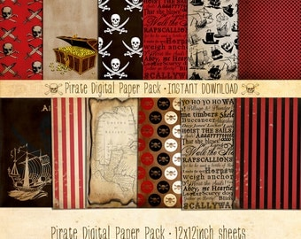 Pirate Paper Pack 12 Digital Sheets - INSTANT DOWNLOAD - Scrapbooking, Card Making, Birthday Party, Baby Shower, Decoration Papers