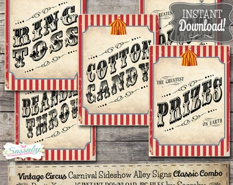 30 Vintage Circus Game/Carnival Signs Posters - Classic Combo - INSTANT DOWNLOAD - Printable Birthday Party Carnival Decorations by Sassaby