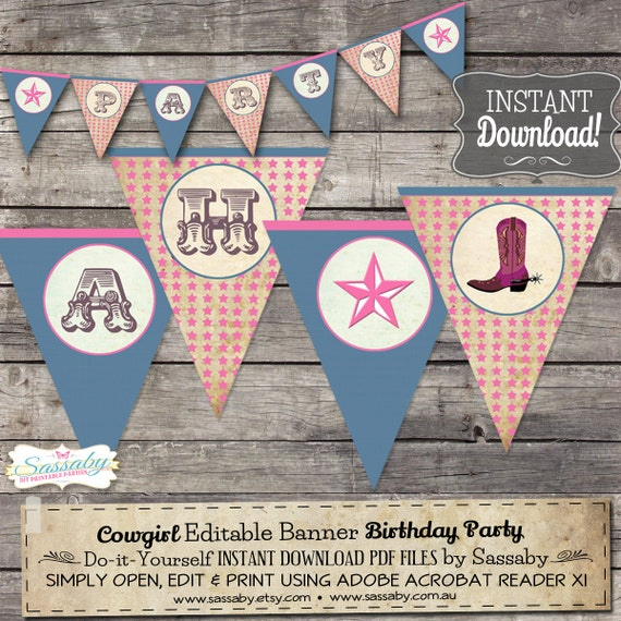 Cowgirl Party Banner - INSTANT DOWNLOAD - Editable & Printable Birthday Party Decorations, Bunting, decor by Sassaby Parties