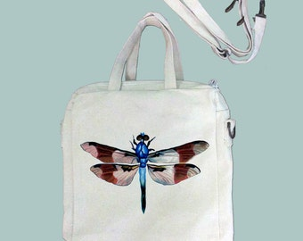 Beautiful Vintage Dragonfly Canvas Purse, Tablet Bag/Carrier, Cosmetic Case -- Removable, Adjustable shoulder strap