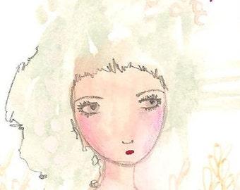 Original aceo art card atc sad girl 2.5 x 3.5 Amaze