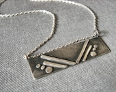 Silver Bar necklace // layering necklace // geometric silver necklace // art deco inspired Modern Jewelry // sleek design recycled silver