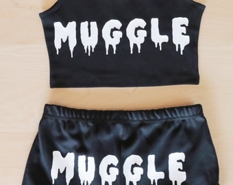 MUGGLE Spandex Crop Tank - Made in USA - Harry Potter inspired