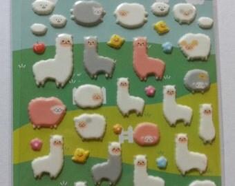 Puffy Alpaca & Sheep Sticker (1 Sheet)