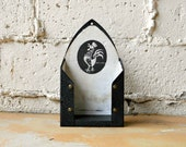 Vintage Iron Holder, 1950s Black Metal Rooster Motif Hot Pad Ironing Holder, Black White Hanging Utility Room