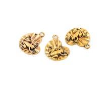 6 FROG on LILYPAD Charm Pendants, antique gold brass metal, chg0178