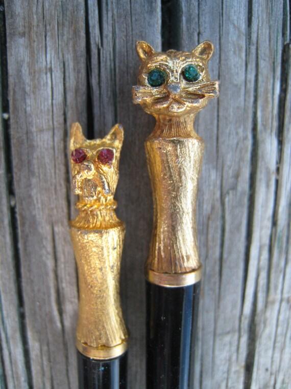 Vintage Miniature Cat and Dog Pen Set in Original Starburst Stamped Case