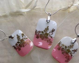 Set of 3 Pendants Broken China Bone China Sterling Silver Bridal Favor Friendship