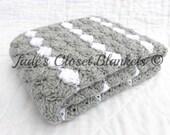 Crochet Baby Blanket, Baby Blanket, Crochet Gray Baby Blanket, Light Gray and White, travel stroller pram size