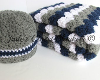 Baby Gift Set, Crochet Grey, Gray, Navy Blue, and White Hat and Travel Blanket Set, Baby Boy, New Baby Gift Set