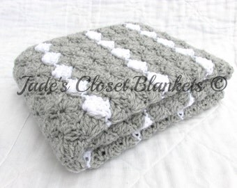 Crochet Baby Blanket, Baby Blanket, Crochet Gray Baby Blanket, Light Gray and White, travel stroller pram size