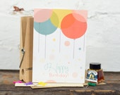 Happy Birthday Card, Birthday Card, Balloons - Free Postage