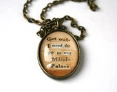 Geek art gift. Sherlock Holmes jewelry. Original quote necklace. OOAK word collage jewelry. Upcycled art pendant necklace. BBC Sherlock art.