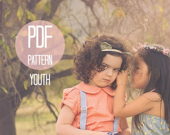 PDF Girls Shirt Pattern Peter Pan Collar Blouse Retro Puff Sleeves Vintage Pattern Girls Size 7 8 Easy Beginner Pattern Kids Sewing Project