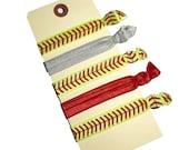 Softball Hair Ties -  FOE Ties - Sports Hair Ties -  Neon Ponytail Holders, Party Favors - Hair Bands - Elastic Hair Ties - No Crease