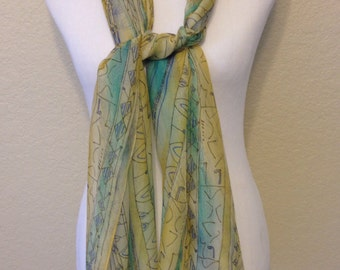 Vintage Yellow, Blue, and Turquoise Extra Long Sheer Scarf, 69 Inches Long and 15 Inches Wide