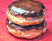 "Donut Painting, Original Oil Still Life Painting, 7 x 7"", ""Double Boston Cream"" by Kim Stenberg, Rich Impressionistic Art"