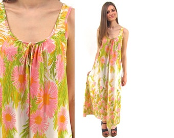 Vintage 70s Floral Slip Dress, Boho, Hippie, Maxi Lingerie Dress ΔΔ xs / sm