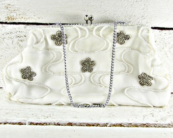 Vintage Ivory Clutch Purse, Pearl Beaded Purse, Micro Seed Bead Purse, Brown Flower Purse, Japanese Purse, 1950s 1960s Prom Bridal Purse