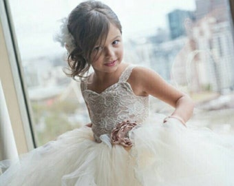 Lace Flower Girl Dress, Vintage Inspired Flower Girl Tutu Dress