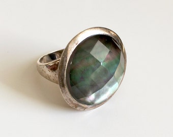 Vintage Sterling Ring Mother of Pearl Quartz Faceted