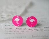 Neon Hot Pink Flamingo Stud Earrings