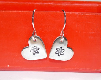 Gorgeous Geekery Small Atomic Heart Earrings in Sterling Silver - Beaker, Flask, Laboratory, Chemistry, Physics, Math, Biology, Science