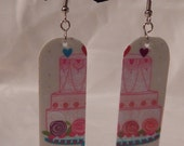 Upcycle earrings pink cakes cupcakes reflective recycled gift card jewelry