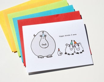 Hippo Birdie Two Ewe - Funny Birthday Card
