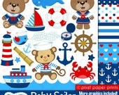 Nautical clipart - Clip art and digital paper set - Baby sailor