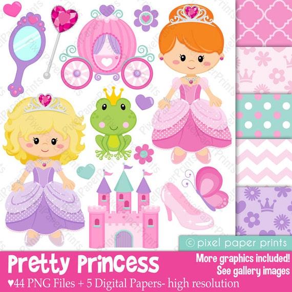Pretty Princess - Princess clipart - Clip art and Digital paper set