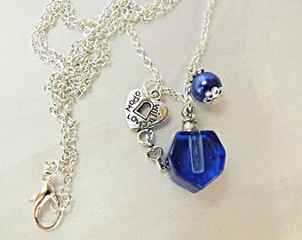 Perfume Bottle Pendant Necklace Cobalt Blue Glass with Pearl  Womens Gift Handmade