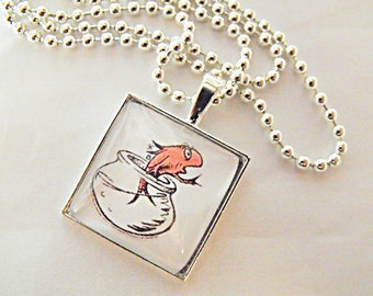 Silver Glass Pendant Necklace,   Classic Dr. Suess Image Necklace  Mens Womens Gift  Handmade