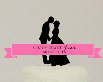 Wedding Cake Topper Customized with YOUR Silhouettes, Custom Silhouette Wedding Cake Topper, Personalized Cake Topper
