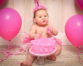 Girl Cake Smash Outfit, Tutu and Party Hat, 1st Birthday Oufit,  Girl Party Hat, Pink Diaper Cover, Birthday Necklace
