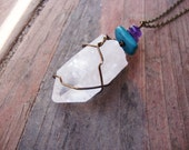 LARGE aged brass wire wrapped quartz with turquoise howlite and amethyst