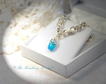 Blue Crystal Charm Bracelet, Teardrop Turquoise Lampwork Glass Bracelet, Chainmaille Glass Bracelet